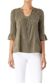 Aryeh Ruffle Suede Top - Product Mini Image