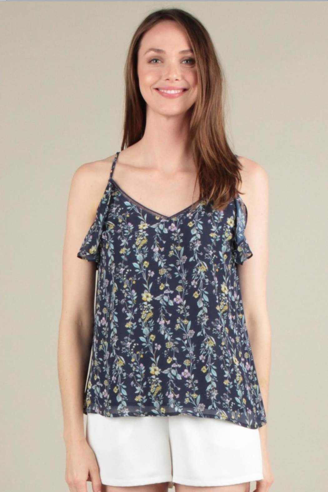 Skies Are Blue Ruffle Tank Top - Front Full Image