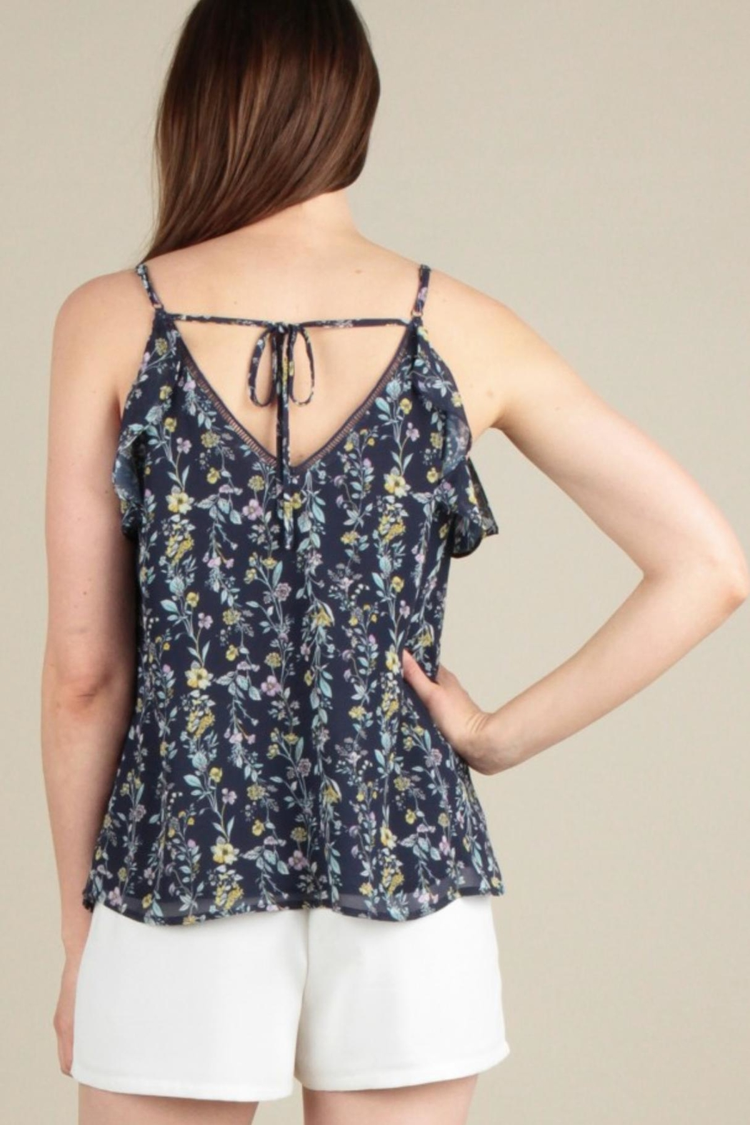 Skies Are Blue Ruffle Tank Top - Back Cropped Image