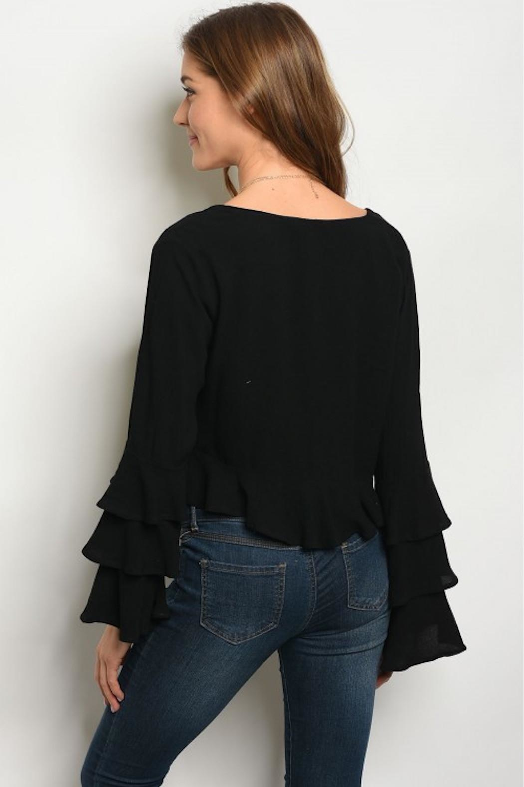 Very J Ruffle Tie-Front Cardigan - Front Full Image