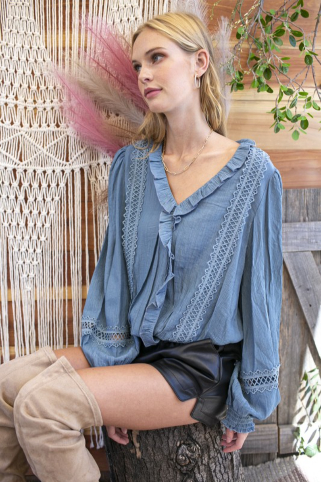 Hailey & Co Ruffle Trim Blouse - Front Full Image