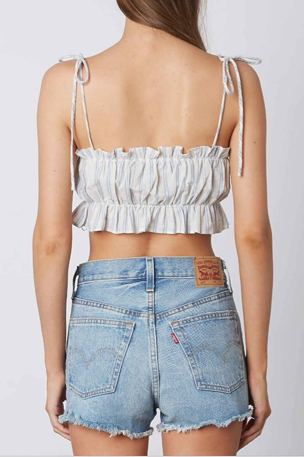 Cotton Candy  Ruffle Trim Crop Top - Front Full Image