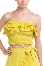 A Peach Ruffle-Trim Crop Top - Product Mini Image