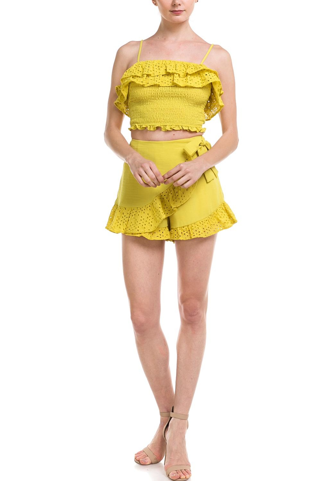 A Peach Ruffle Trim Skort - Front Cropped Image