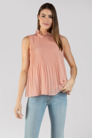 Naked Zebra  Pleated Ruffle Neck Tank - Product Mini Image