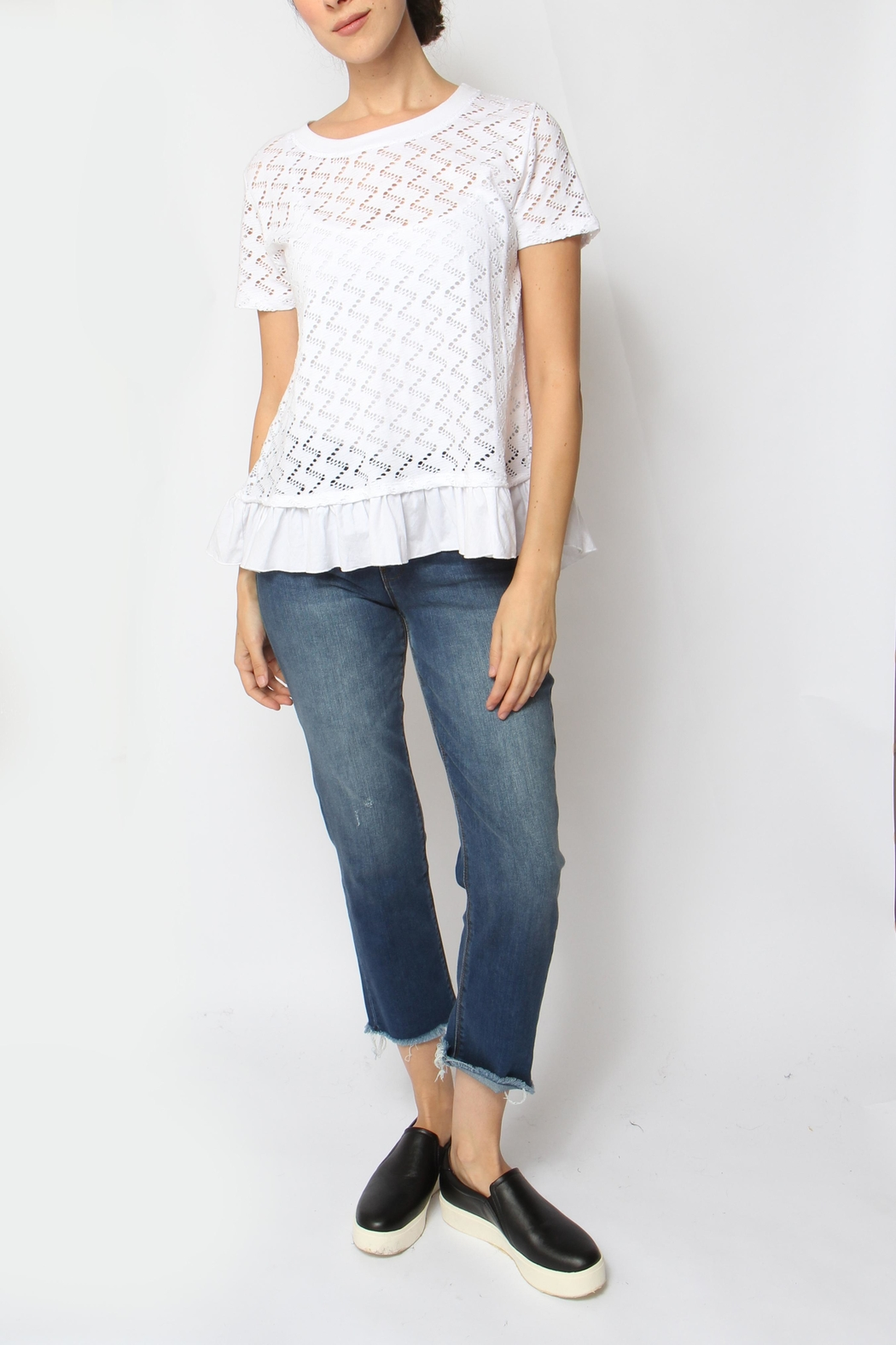 Coin 1804 Ruffle Trim Top - Front Full Image