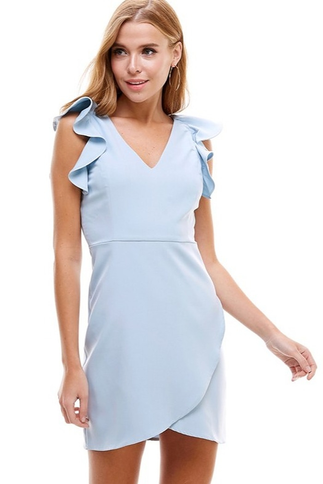 TCEC Ruffle Trim Wrap Dress - Front Cropped Image