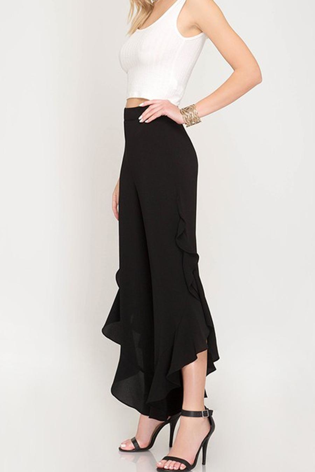 The Vintage Valet Ruffle Tulip Pants - Front Full Image