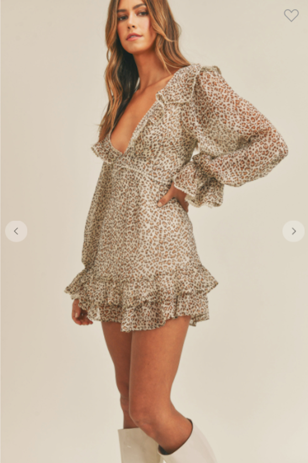 Mable Ruffle Up Leopard Dress - Front Full Image