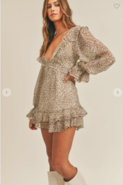 Mable Ruffle Up Leopard Dress - Front full body
