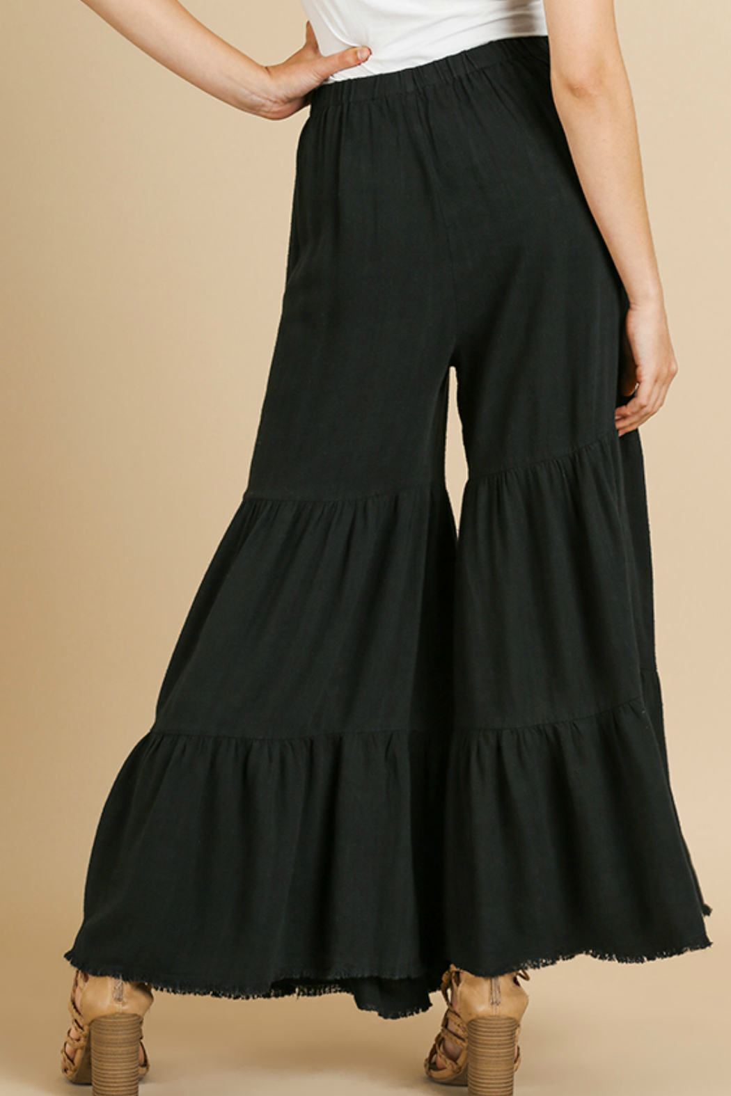 Umgee  Ruffle Wide Leg Pant - Side Cropped Image