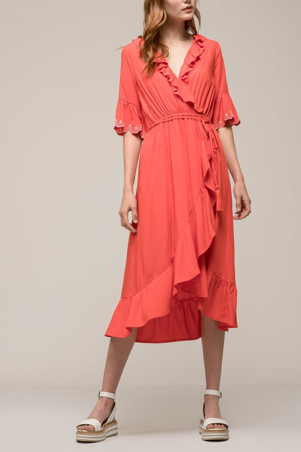 Earthy Chic Ruffle Woven Dress - Main Image