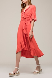 Earthy Chic Ruffle Woven Dress - Front full body