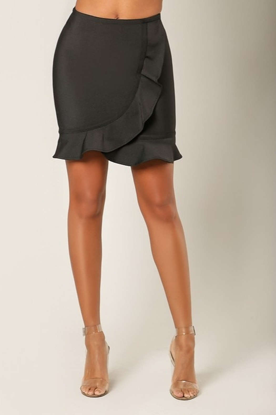 Wow Couture Ruffle Wrap Bandage Skirt - Front Cropped Image