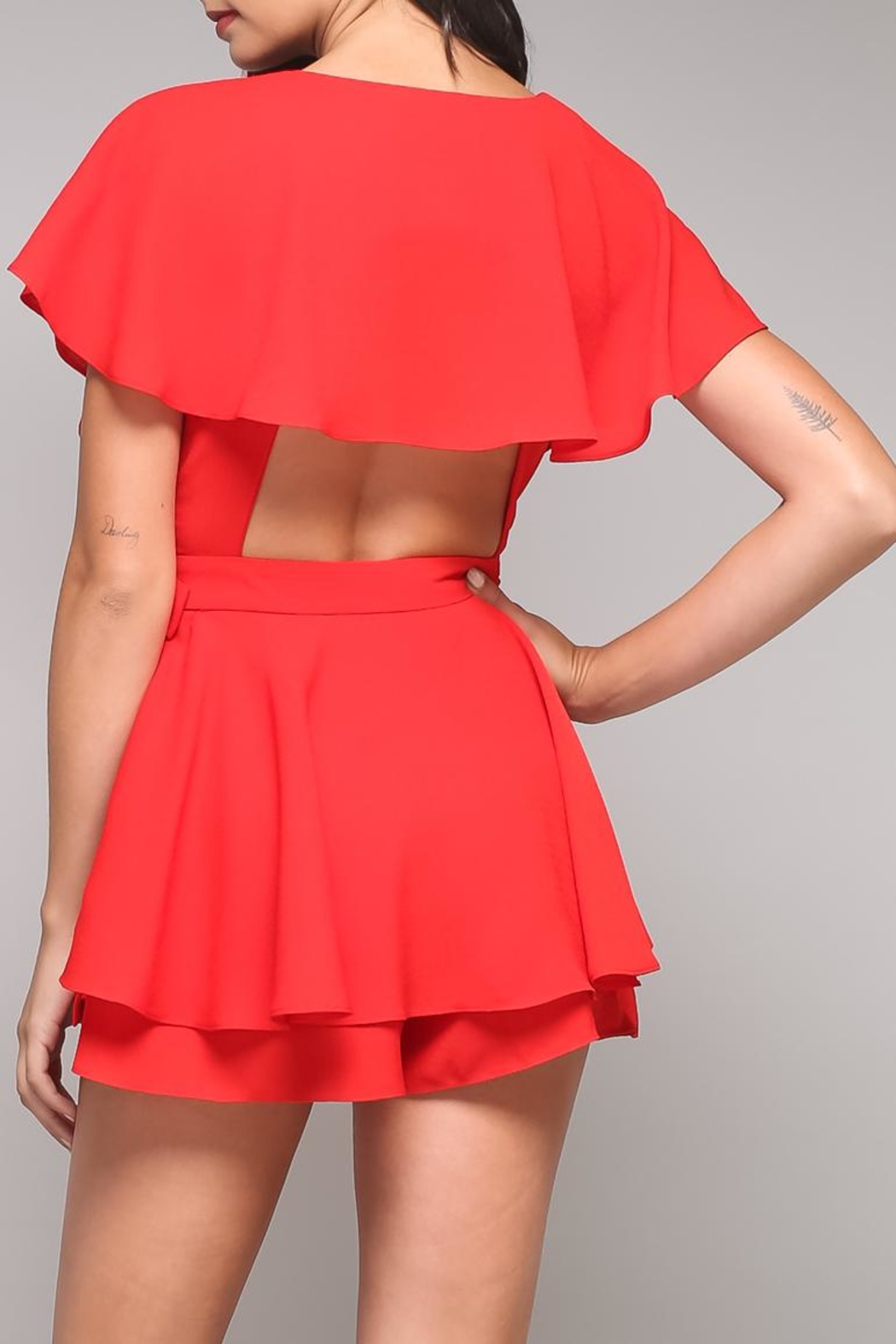 Do & Be Ruffle Wrap Romper - Front Full Image