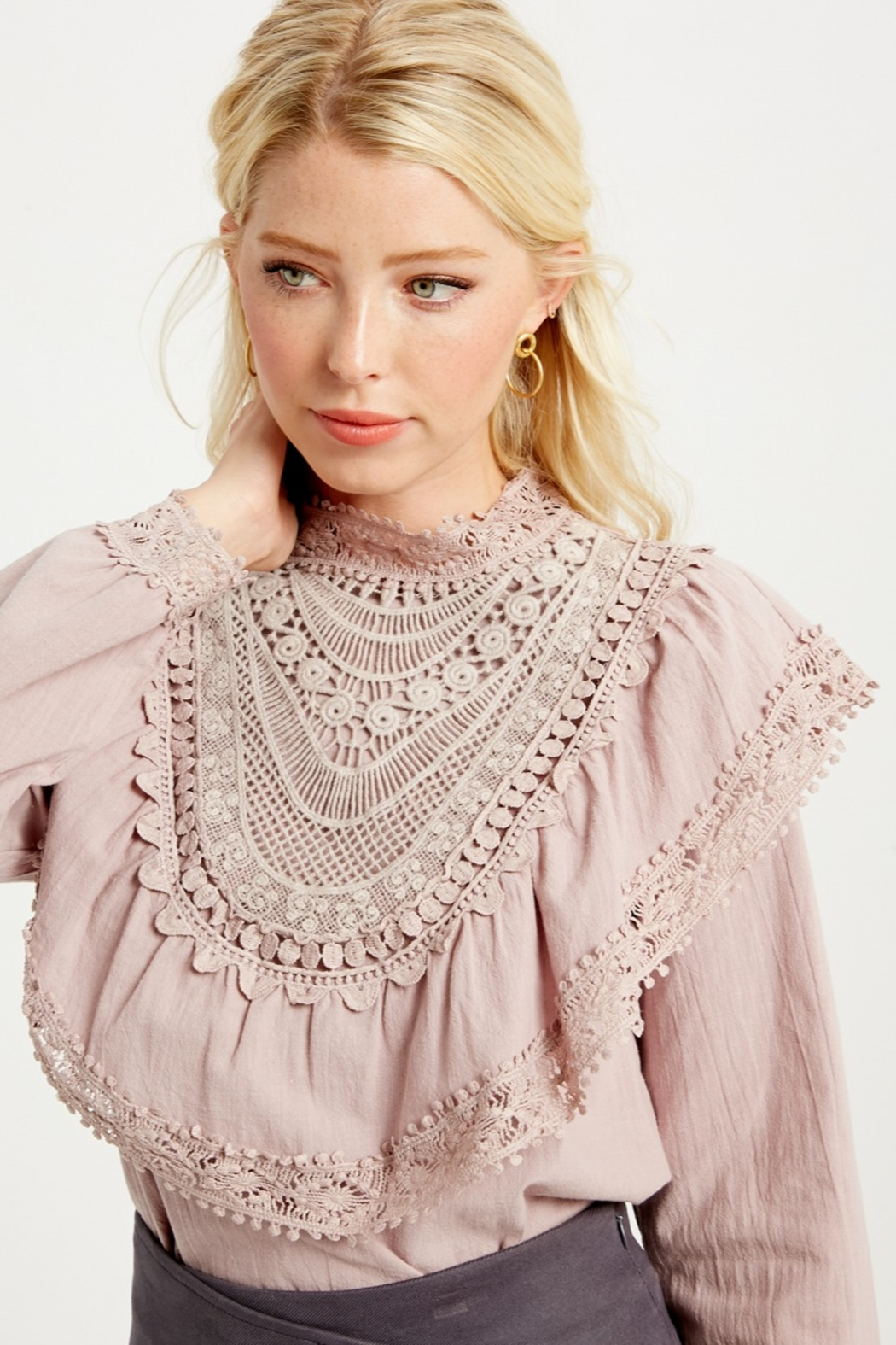 Listicle Ruffle Yoke Blouse - Side Cropped Image