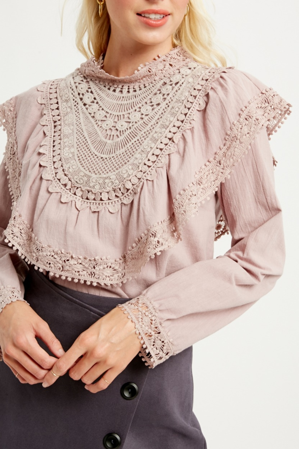 Listicle Ruffle Yoke Blouse - Main Image