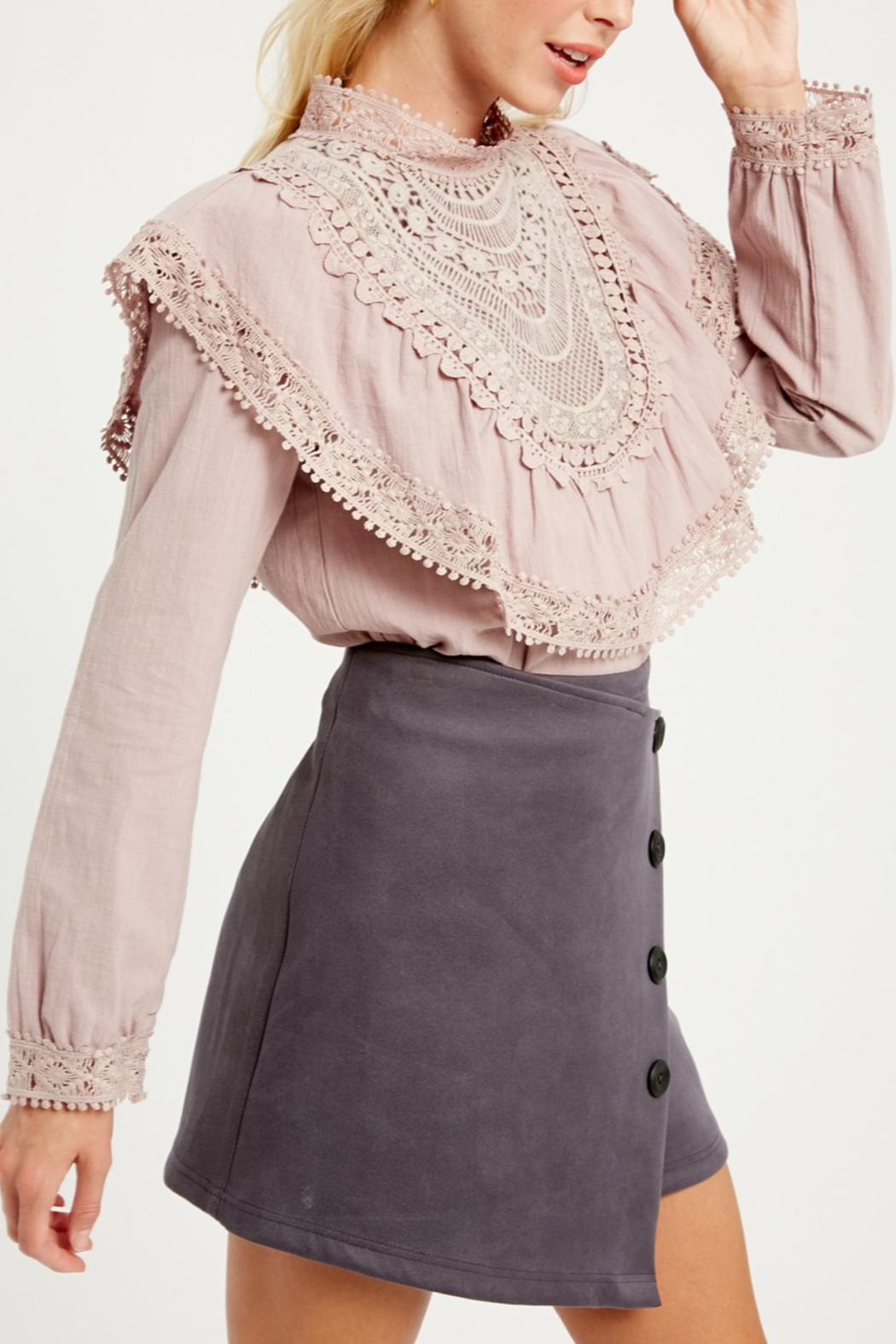 Listicle Ruffle Yoke Blouse - Back Cropped Image