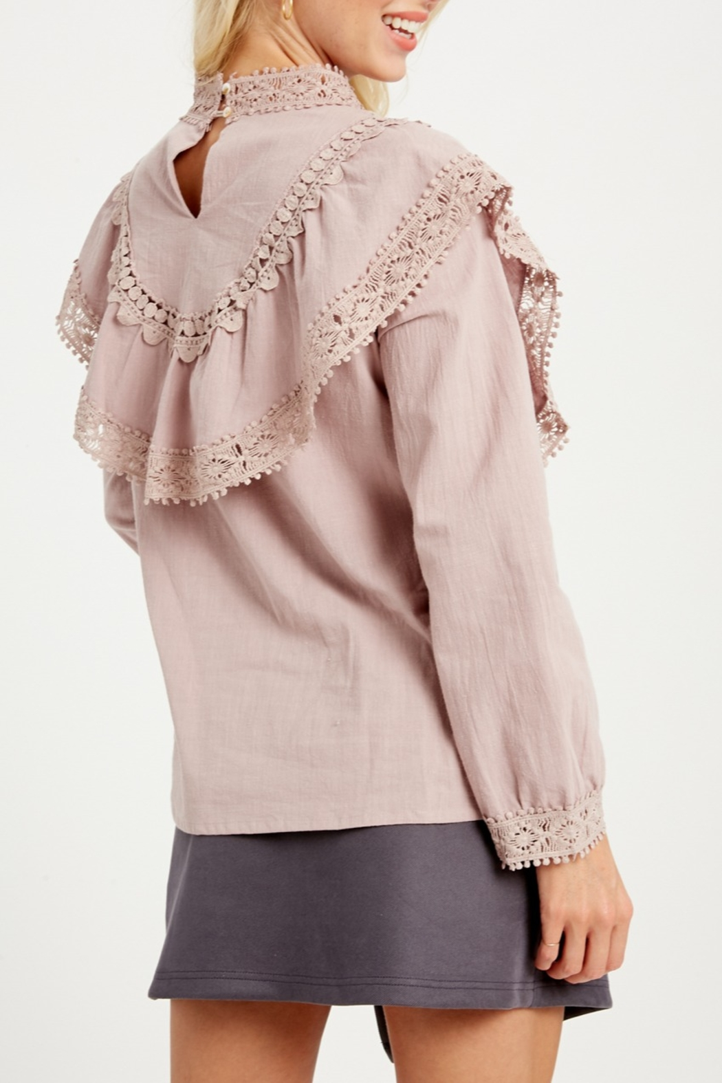 Listicle Ruffle Yoke Blouse - Front Full Image