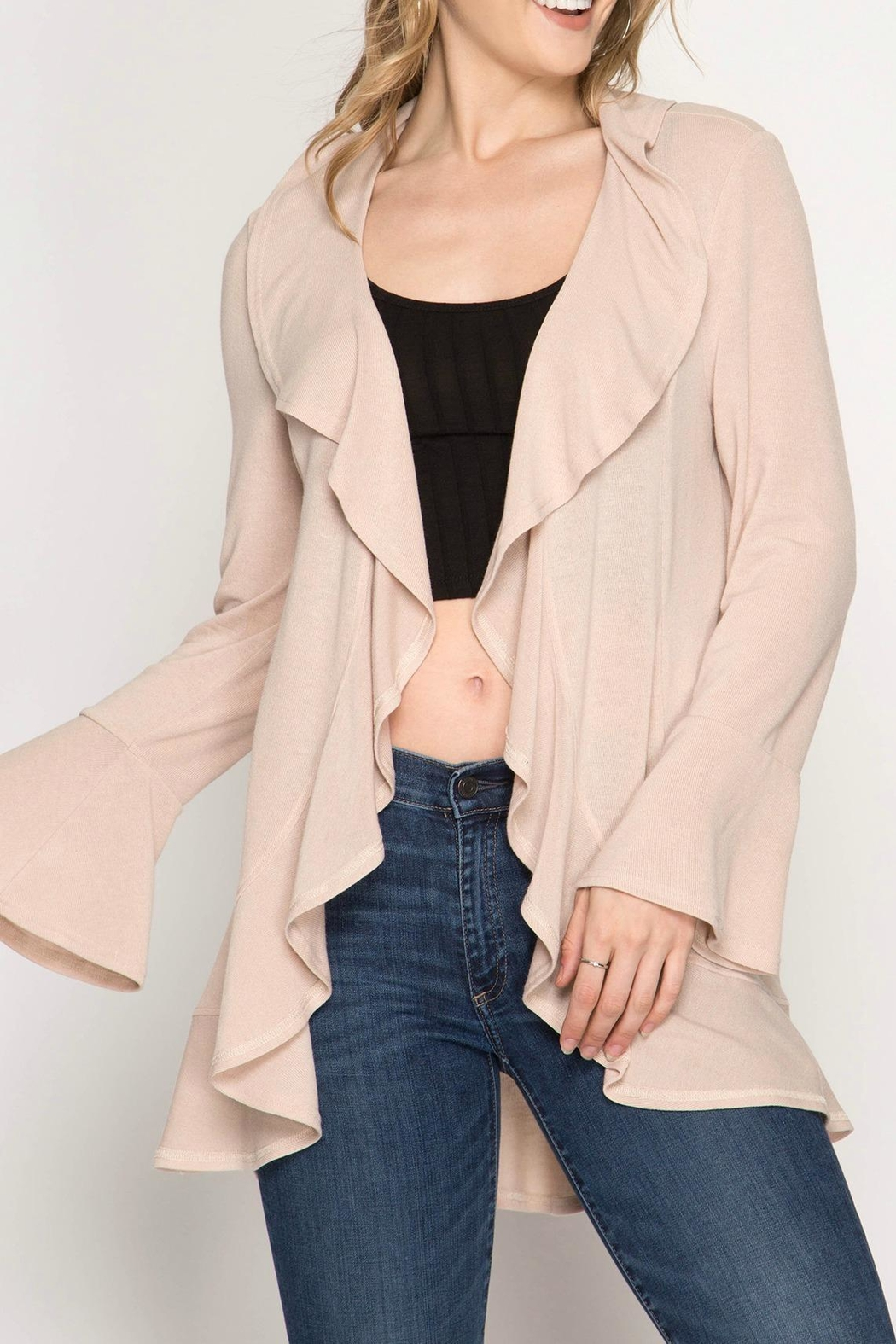 c2c3a41cc869 She + Sky Ruffled Bell-Sleeve Cardigan from Massachusetts by Moxy ...