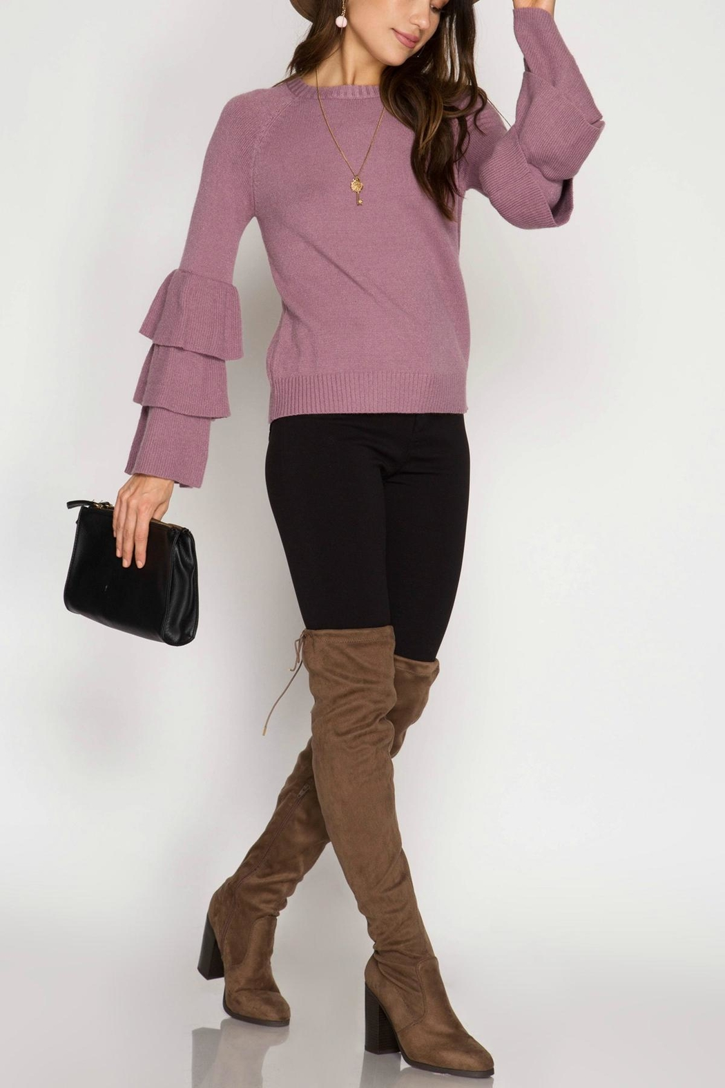 7f558d9a9875 She + Sky Ruffled Bell-Sleeve Sweater from Massachusetts by Moxy ...
