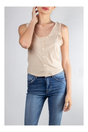 Color Thread Ruffled Button-Down Crop - Product Mini Image