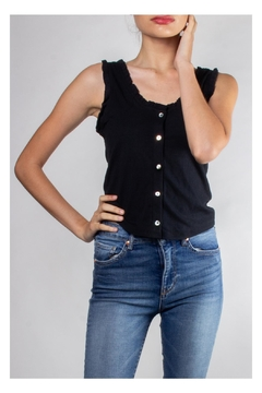 Color Thread Ruffled Button-Down Crop - Product List Image