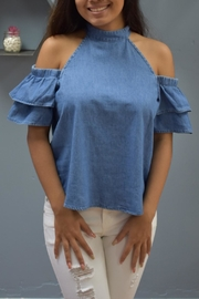 RD Style Ruffled Denim Top - Product Mini Image
