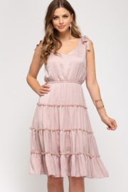 She + Sky Ruffled Dress With Tie Straps - Product Mini Image
