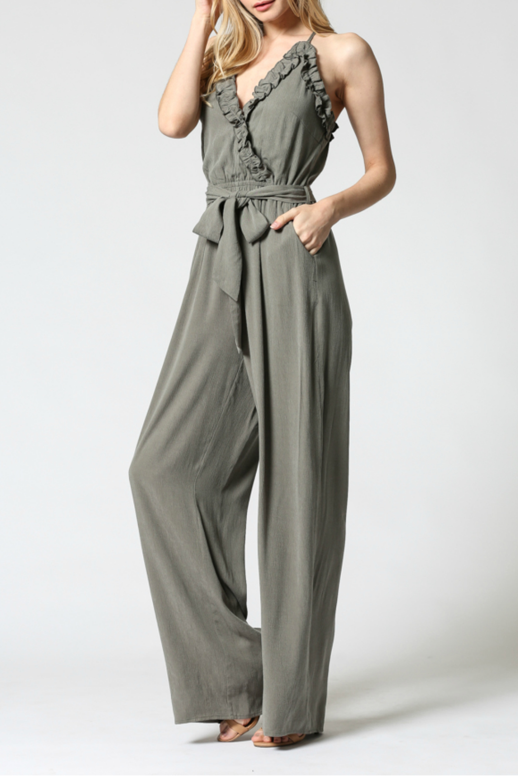 FATE by LFD Ruffled edge jumpsuit - Front Full Image
