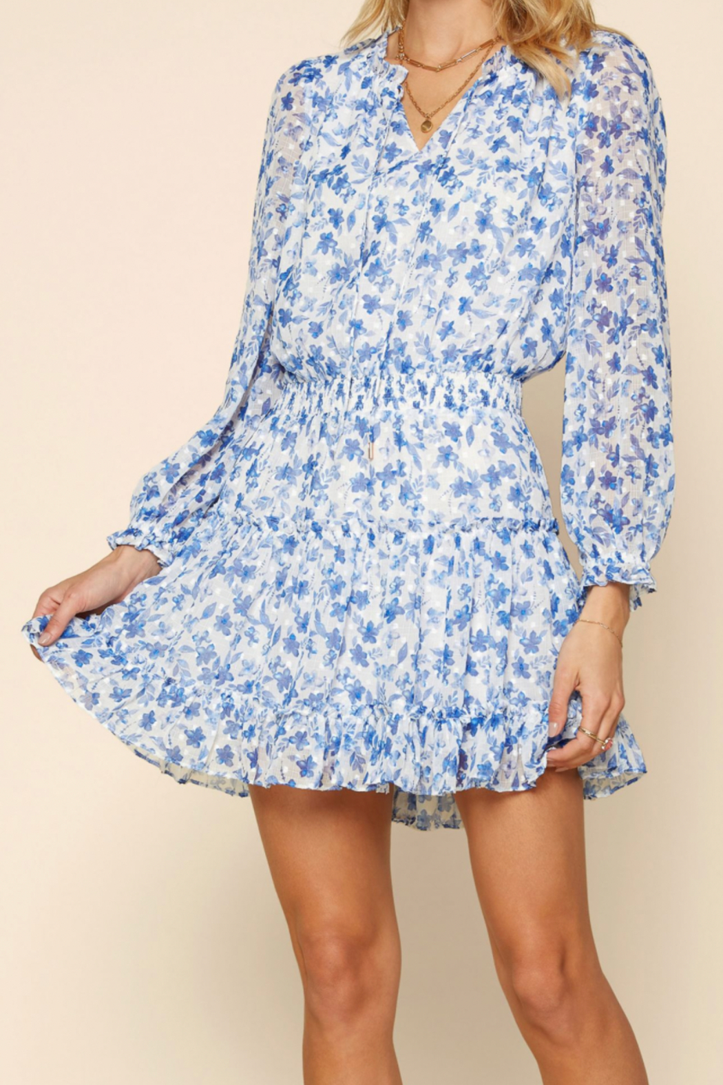 Skies Are Blue RUFFLED MINI DRESS - Front Full Image