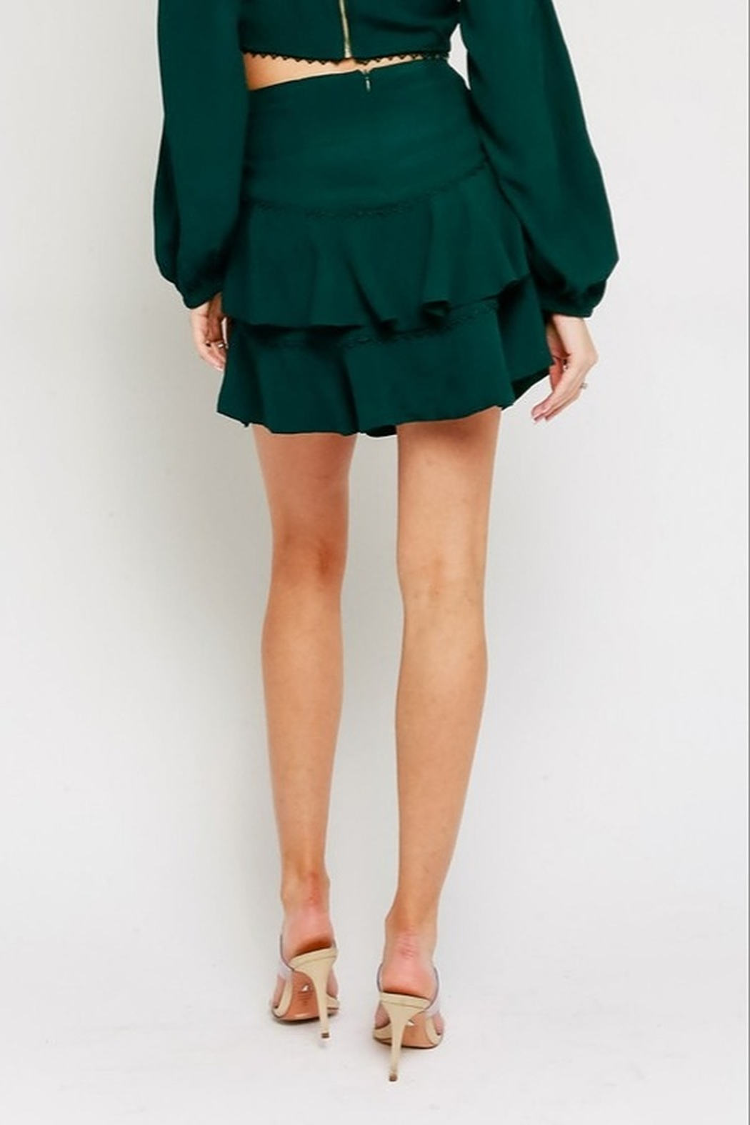 Olivaceous Ruffled Mini Skirt - Side Cropped Image