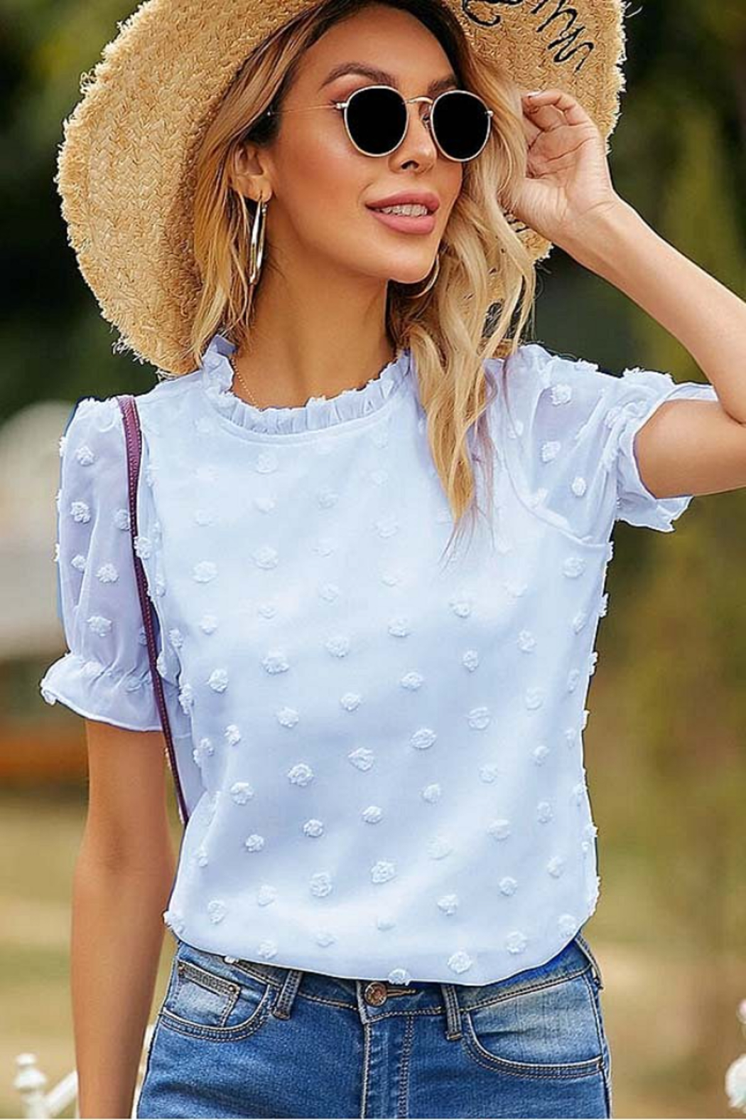 Esley Collection Ruffled Neckline Dotted Blouse - Front Cropped Image