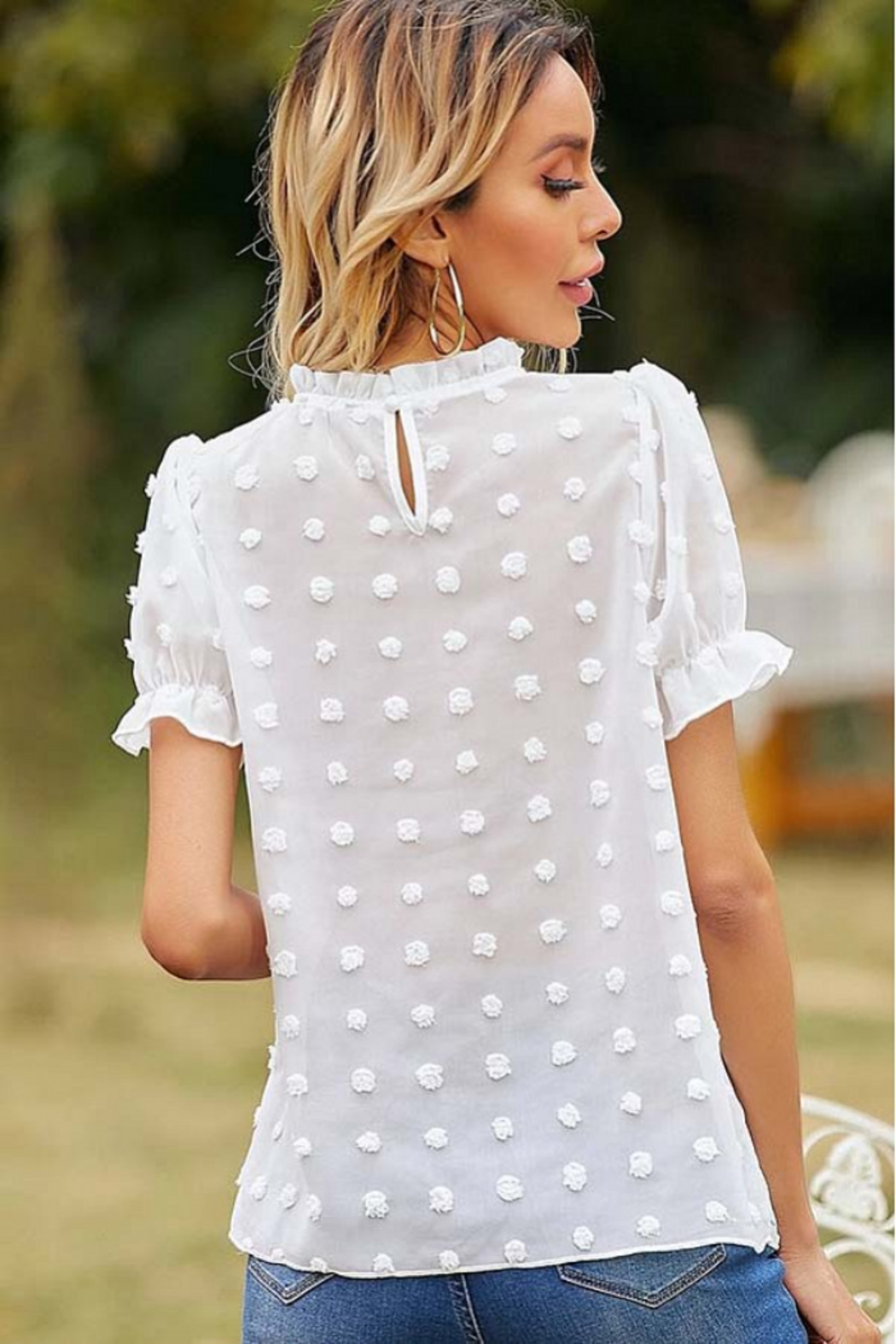 Esley Collection Ruffled Neckline Dotted Blouse - Back Cropped Image