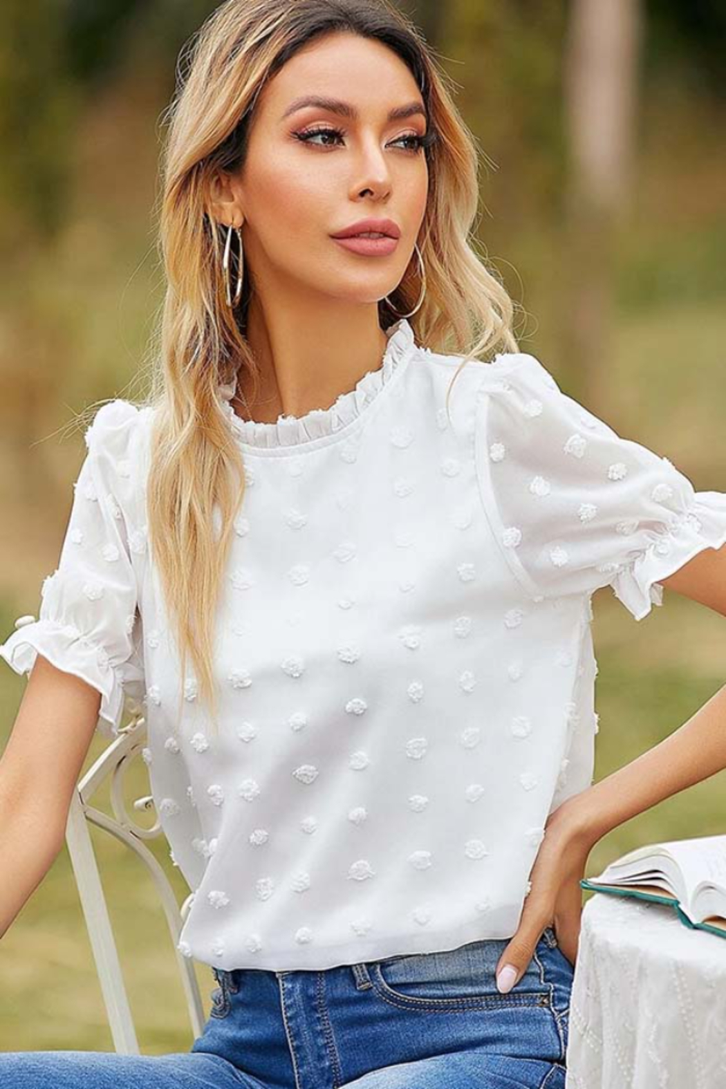 Esley Collection Ruffled Neckline Dotted Blouse - Front Full Image
