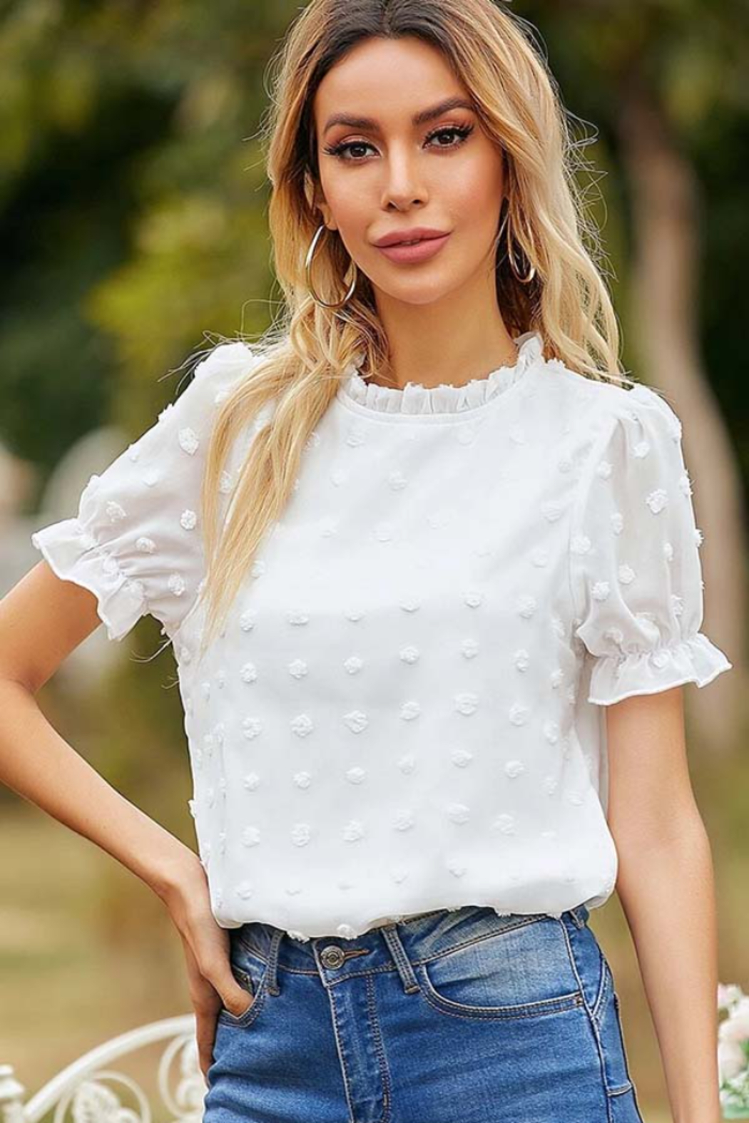 Esley Collection Ruffled Neckline Dotted Blouse - Side Cropped Image