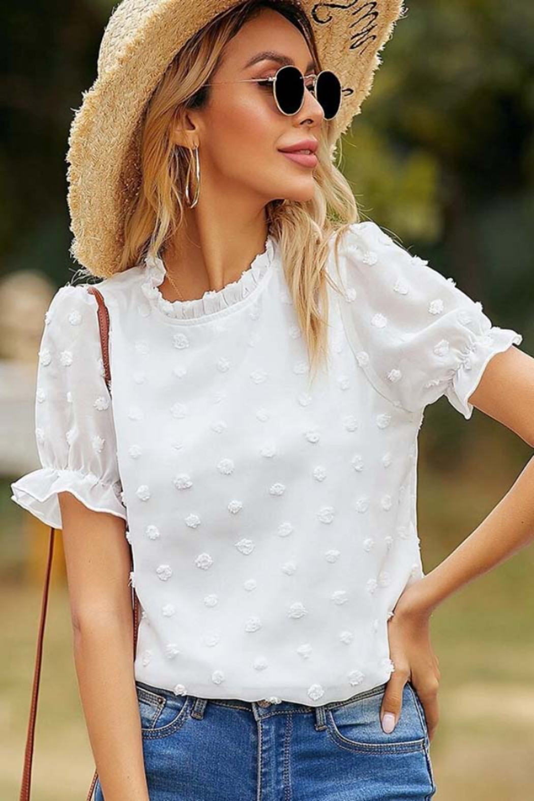 Esley Collection Ruffled Neckline Dotted Blouse - Main Image