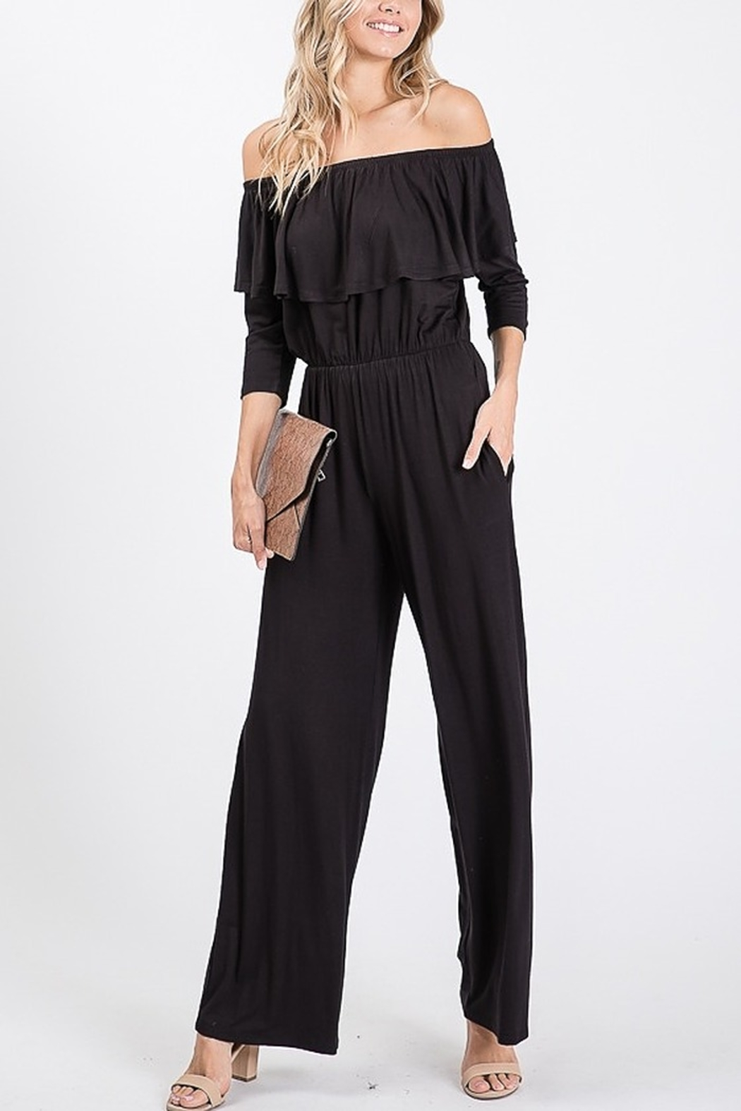 Lyn -Maree's Ruffled Off the Shoulder Jumpsuit - Main Image