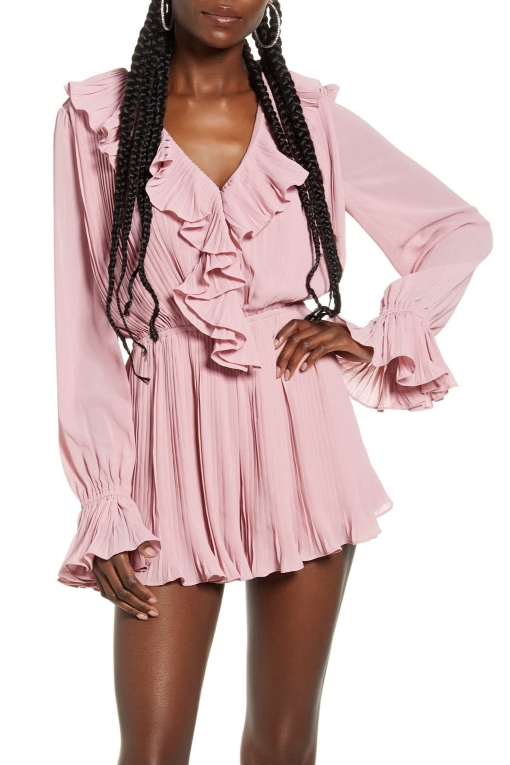 Endless Rose Ruffled Pleat Romper - Front Cropped Image