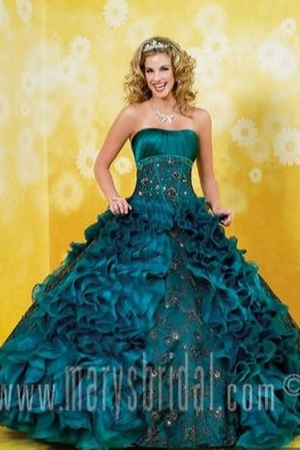 Mary's Bridal Ruffled Quince Dress in Teal - Main Image