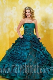 Mary's Bridal Ruffled Quince Dress in Teal - Front cropped