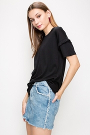 Double Zero Ruffled-Sleeve Black Tee - Product Mini Image