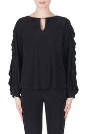Joseph Ribkoff Ruffled Sleeve Blouse in Black - Product Mini Image