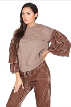 Shoptiques Product: Ruffled Sleeve Pullover