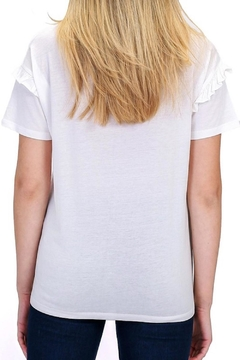 Double Zero Ruffled-Sleeve White Tee - Alternate List Image