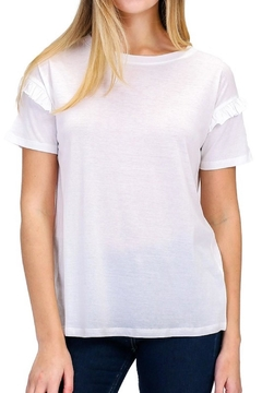 Double Zero Ruffled-Sleeve White Tee - Product List Image