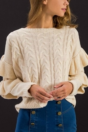 Flying Tomato Ruffled Sleeves Sweater - Product Mini Image
