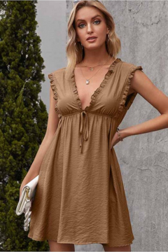 Esley Collection Ruffled Trim V-Neck Dress - Product List Image