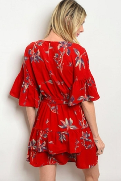 lelis Ruffled Tunic Dress-Tomato-Red - Alternate List Image