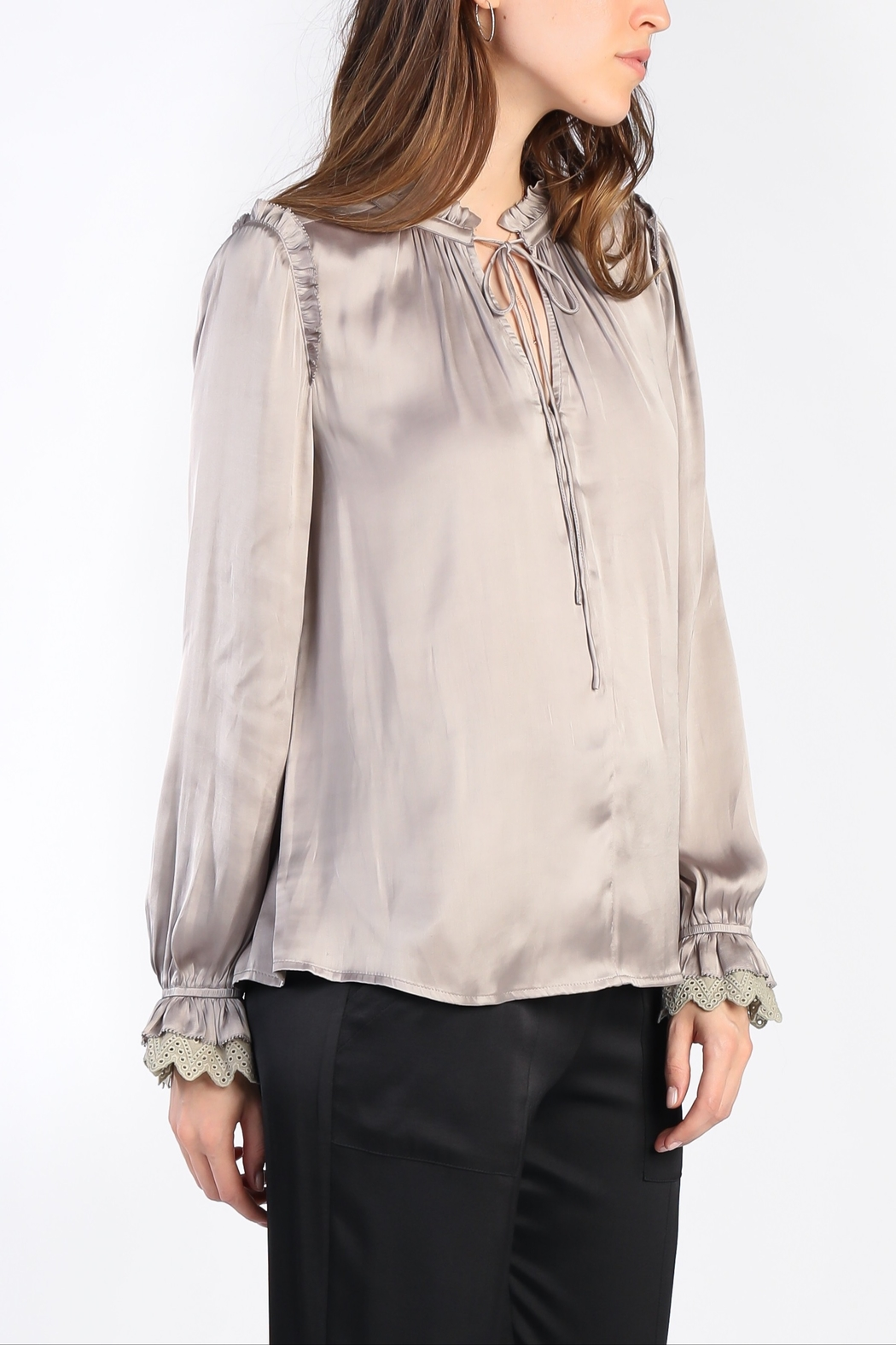 Current Air Ruffled V Tie Neck Lace Trim Blouse - Main Image